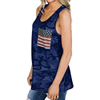 Besooly Women American Flag Tanks, Flag Print Camouflage Tops Vest Sleeveless T-Shirt Blouse