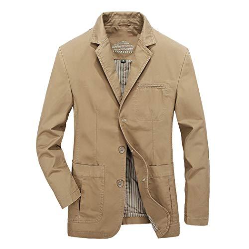 (Sun Lorence Mens Casual Lapel Three Button Blazer Jacket Cotton Twill Suit Sport Coat Khaki L)