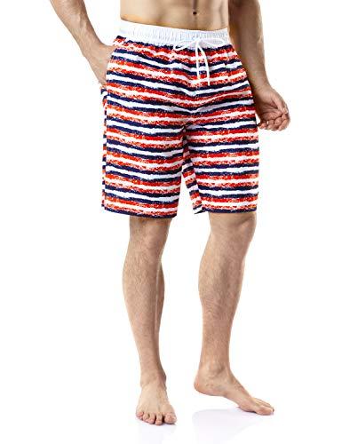 TSLA Men's 11 Inches Swimtrunks Quick Dry Water Beach, Graphic(msb05) - America, 2X-Large