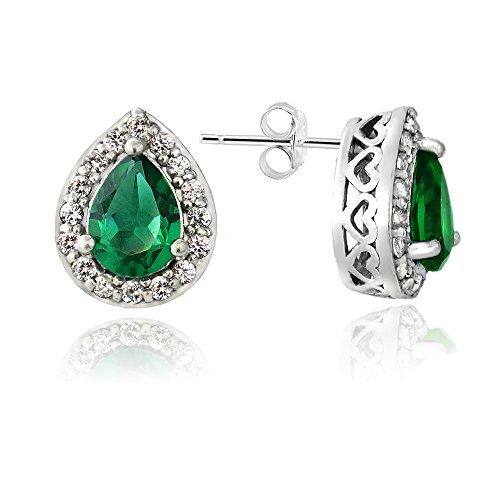 Sterling Silver Created Green Quartz & White Sapphire Teardrop Stud Earrings ()