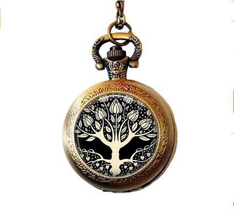 Art Nouveau Watch - stap Aubrey Beardsley Tree of Life with Heart Roots - Classic Art Jewelry - Tree of Life Pocket Watch Necklace - Art Nouveau Tree