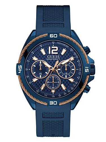 GUESS  Comfortable Iconic Rose Gold-Tone + Blue Stain Resistant Silicone Chronograph Watch. Color: Blue (Model: U1168G4)
