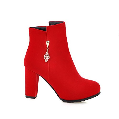 Women's High-Heels Solid Round Closed Toe Frosted Zipper Boots with Charms