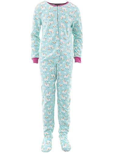 Rene Rofe Girls Rainbow Unicorns Blue Footed Pajamas XL/14-16