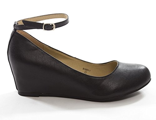 Chase & Chole Bobby-1 Womens Closed Toe Ballet Flat, Low Wedge Mary Jane Ankle Strap