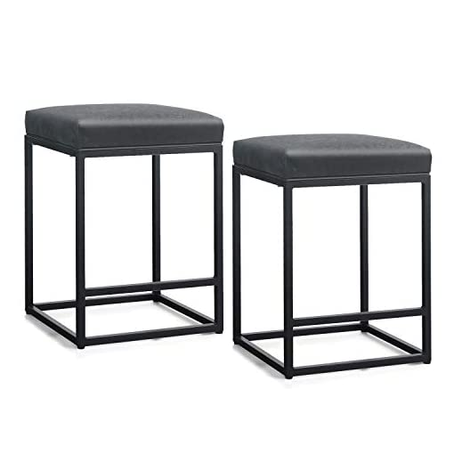 Kitchen MAISON ARTS Counter Height 24″ Bar Stools Set of 2 for Kitchen Counter Backless Industrial Stool Modern Upholstered Barstool Countertop Saddle Chair Island Stool,330 LBS Bear Capacity,(24 Inch,Black) modern barstools