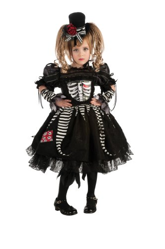 Bones Skeleton Girls Costumes (Girl's Bones Costume, Medium)