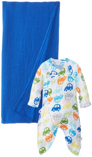 I play. Unisex-Baby Newborn Organic Muslin Gown and Blanket Gift Set, Car Print, Newborn/0-3 Months