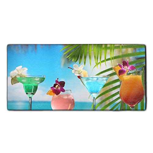Tropical Cocktail Strawberry Coconut Chocolate Pineapple Lime Orange Face Towel 11.8 × 27.5 Inches - Bath, Hand & Washcloth Towels (Lime Coconut Cocktail)