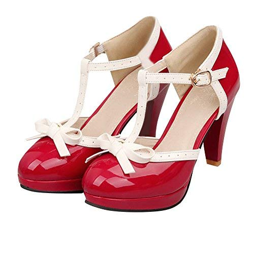 Red High Heel Shoe Pin - Carol Shoes Fashion T Strap Bows Womens Platform High Heel Pumps Shoes (9, Red)