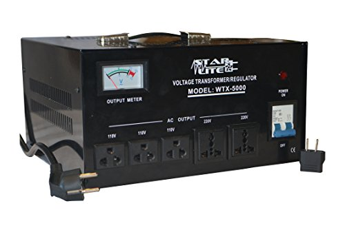 Starlite 5000 Watt Step Up/ Down Voltage Converter Transformer WTX-5000, 5 Year Warranty, Fuse Protection and Automatic Voltage Regulator - Two Way Transformer - 110 to 220 V or 220 to 110 V 110/120/220/240V (Regulator 220 Voltage)