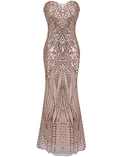 Sheath Strapless Column (Blue Halo Women's Notched Strapless Paillette Column Sheath Prom Dres Pink M)