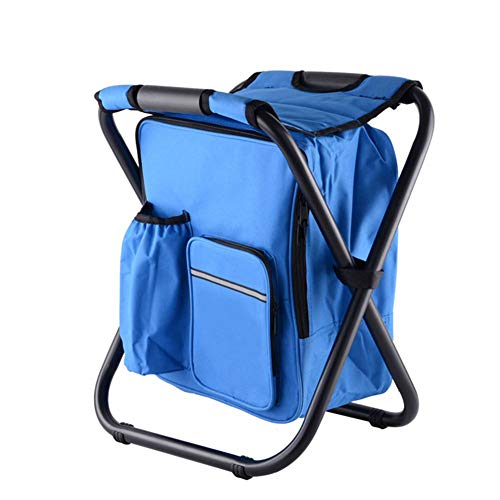 W&L Multifunctional Portable Casual ice Pack Chair with Insulated Bag can be Back Fishing Stool Beach Chair Light Outdoor Stool,Blue