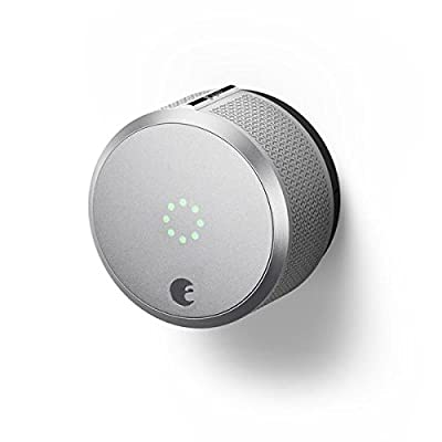 Image of August AUG-SL-CON-S03 Silver Smart Lock Pro, 3rd Generation-Dark Gray, Apple HomeKit Compatible and Z-Wave Plus Enabled Home Improvements
