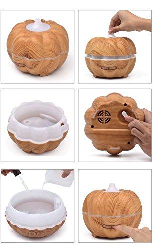 YNXing Mini Pumpkin Air Humidifier Mini Household 300ml Ultra-quiet Wood Grain Aromatherapy Machine (Light wood grain) by YNXing (Image #5)