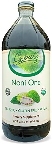 Noni One 100 Pure Organic Noni Juice – 32oz Glass Bottle 1 qt Gluten-Free and Vegan Superfruit Supplement, 30,000mg of Noni Juice Per Serving, Vitamin and Antioxidant Rich Gopal s Healthfoods