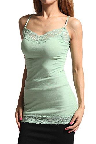 Essential Apparel Lace Camisole - TheMogan Junior's Floral Lace Trim Spaghetti Strap Stretch Cami Tank Top Sage 2XL