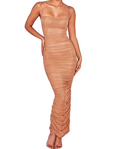 (UONBOX Women's Sexy Mesh See Through Ruched Cocktail Party Midi Bodycon Strap Dress (Nude, S))