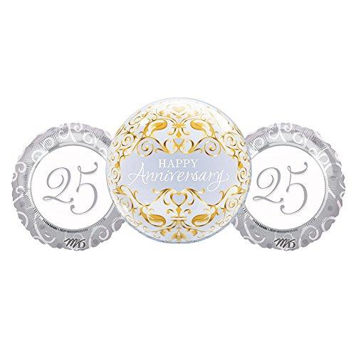 25th Anniversary Balloon - Happy 25th Anniversary Silver Balloon Decoration Bundle