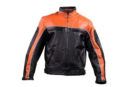 (Dream Men's Motorcycle Scooter Harley Color Orange Jacket W/ZIPOUT Liner Inside Biker (60 Regular))