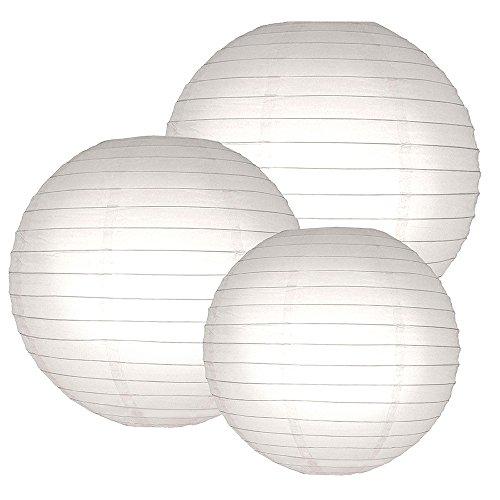 LumaBase 72006 6 Count Multi Size Paper Lanterns, 12''/14''/16'', White by Lumabase