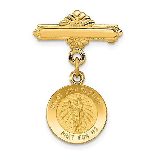 Solid 14k Yellow Gold Saint John the Baptist Medal Pendant Pin (27mm x ()