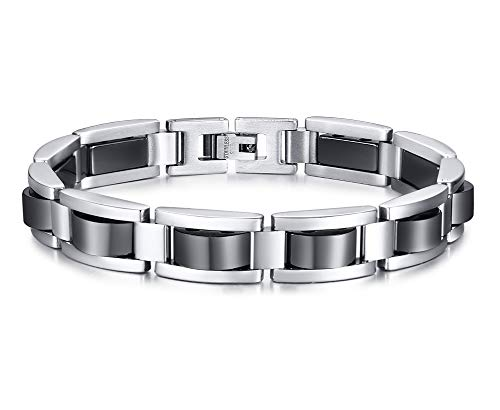 - PJ Jewelry Men's Hematite Magnetic Bracelet Stainless Steel Two-Tone Link Chain Wristband for Dad
