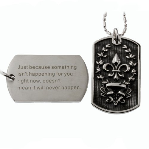 R.H. Jewelry Stainless Steel Pendant Dog Tag with Fleur De Lis Cross Gothic Style