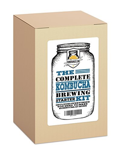 The Complete Kombucha Brewing Starter Kit: Live Organic Kombucha SCOBY- Fermented Starter Tea - Glass Brew Jar - Organic Sugar & Tea - Instructions & Recipes + More!