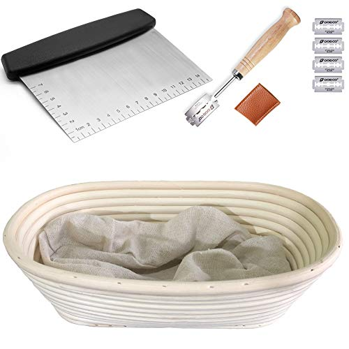 KoHuiJoo Oval Banneton Proofing Basket Set, 10 Inch Bread Sourdough Proofing Basket, Artisan Home Bakers Dough Bread Rising Baskets + Stainless Steel Dough Scraper + Bread Lame + Liner (10 inch)