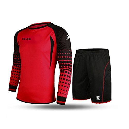 - KELME Soccer Goalkeeper Long Sleeves Jersey & Shorts for Mens Kids (Red, Medium)