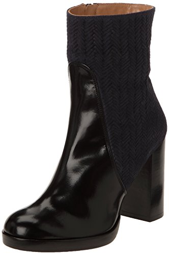 Castañer Camille / Box Leather Woven Suede - Botas para mujer Navy / black