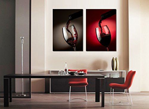Yimei Art Red Wine Modern Canvas Painting Set Wall Art Picture for Home Decor Giclee Prints Canvas for Wall Decor (Red Wine Art compare prices)