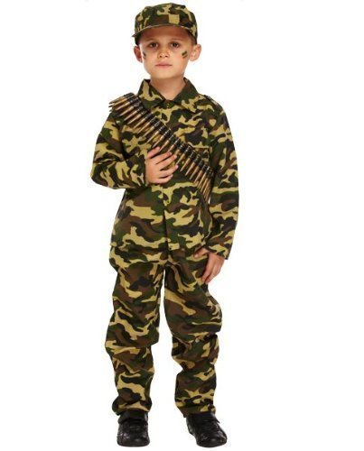 Boys Camouflage WW1 WW2 Army Soldier Boy Military Armed Forces Costume Age 7-9