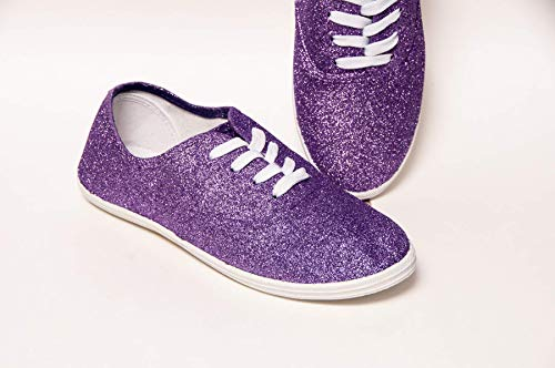 Women's Hand Glittered Canvas Oxford Lavender Purple Glitter Sparkle Sneaker Shoe by Princess Pumps (Costume Lavender Rubies)
