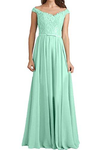 Abendkleider Elegant Grün Damen Spitzenkleid Brautjungfernkleider Rundkragen Lang Ivydressing qtU8w
