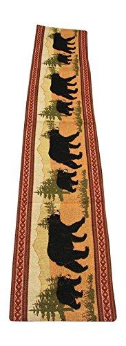 RaaKha Black Bear Southwestern Design Table Runner, Tan, 13x72 inches (Bear Runner Table)