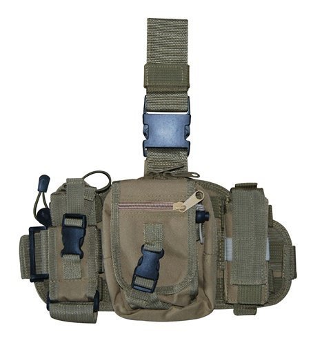 Ultimate Arms Gear Tactical Coyote Tan Military Utility Gear Multi Purpose Drop Leg MOLLE Pouch Platform Rig With Included Three Detachable Pouches