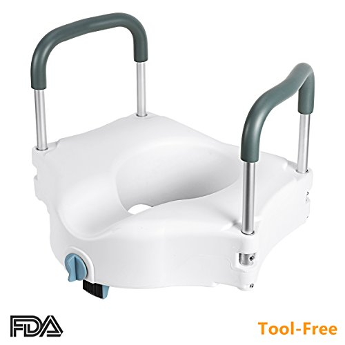 aised Toilet Seat- Portable Secure Elevated Riser Safety Rails with Padded Handles - 5