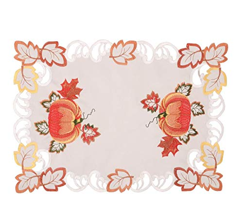 Embroidered Placemats Pumpkin Leaves Decorate for Thanksgiving or Halloween this Autumn Fall