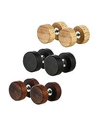 Surker 3 Pairs Wood Wooden Round Circle Plug Tunnel Stainless Steel Stud Earrings