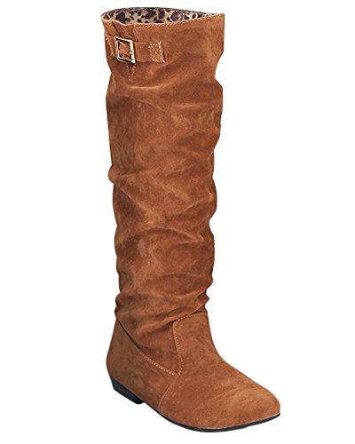 Mode Genou Bottes Neige Hiver Boucle De Bottes Femme Longue Élégant De Chaussures Plates Jaune Bottes Doux 0HFwCTnxq