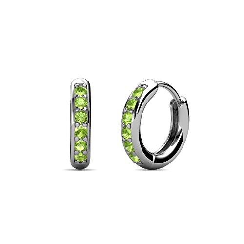 TriJewels Petite Peridot Huggies Hoop Earrings 0.25 Carat tw in 14K White Gold ()