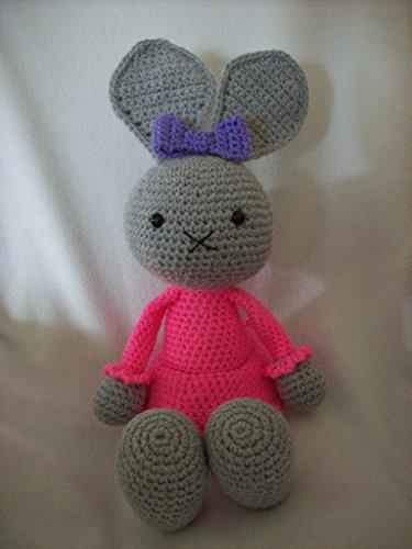 Grey bunny in hot pink dress stuffed animal handmade,18 in