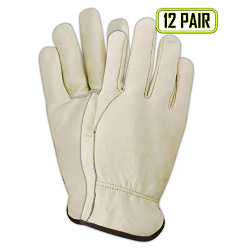 safety golves Size work S 12 Pair Pack Cow Hide Grain Leather Driver
