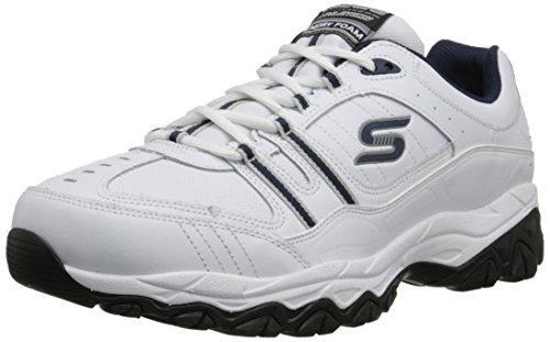 (Skechers Sport Men's Afterburn Memory Foam Strike On Training Shoes,White/Navy,12 4E US)