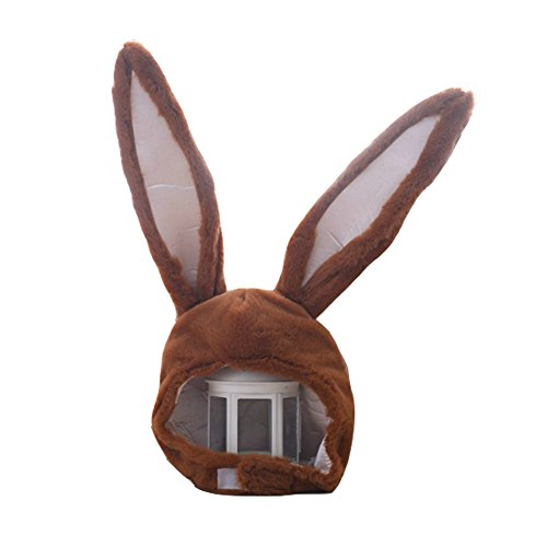 BOBILIKE Plush Fun Bunny Ears Hood Women Costume Hats Warm, Soft and Cozy, Brown