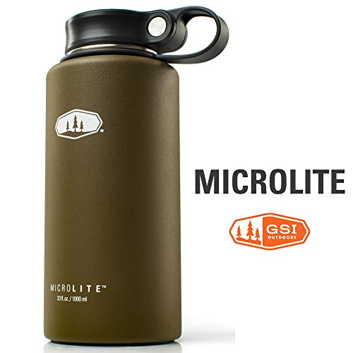 GSI Outdoors - MicroLite 1000 Twist Vacuum Insulated Stainless Steel Water Bottle, Olive, 33 Fl. oz