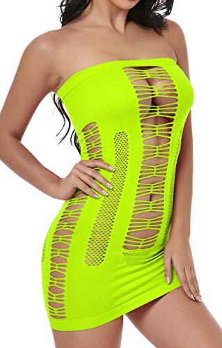 ADOREJOY Womens Lingerie Seamless Mesh Chemise Babydoll Bodysuit (Neon Yellow,M) - Neon Yellow Body