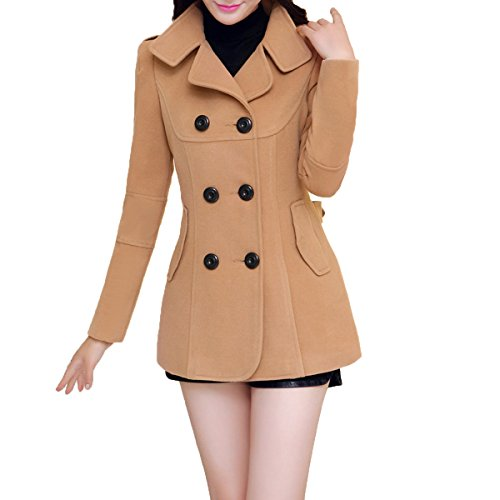 Ms Stunner Women's Winter Spring Solid Color Double Breasted Elegant Wool Coats Khaki CN XXL